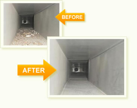 Before and after photo showing the results of air duct cleaning