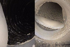 Before and after photo of dirty air ducts and clean air ducts